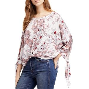 Free People Keepin' On Ivory Floral Print T-Shirt
